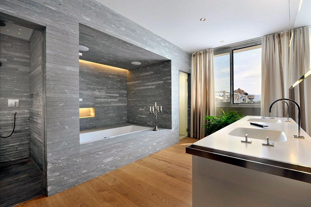 Badewanne eingebaut mit Lichtdesign